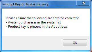 Product key or avatar missing
